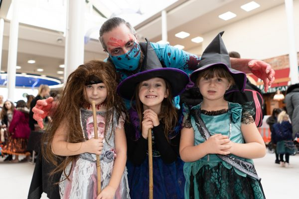 Summer Jones, 7, Mia Galisteo, 7, Sophie Jones, 5 and James Galisteo. Halloween at Festival Lesuire, Basildon.