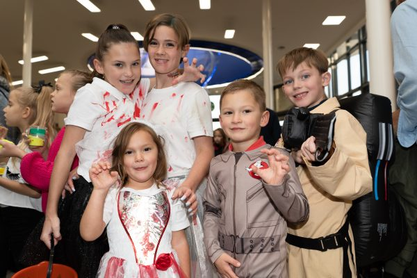 Jacob Dorsey, 8, Carter Riches, 3, Annabelle Murphy, 2, Laurence Murphy, 5 and Jodie Murphy, 11. Halloween at Festival Lesuire, Basildon.