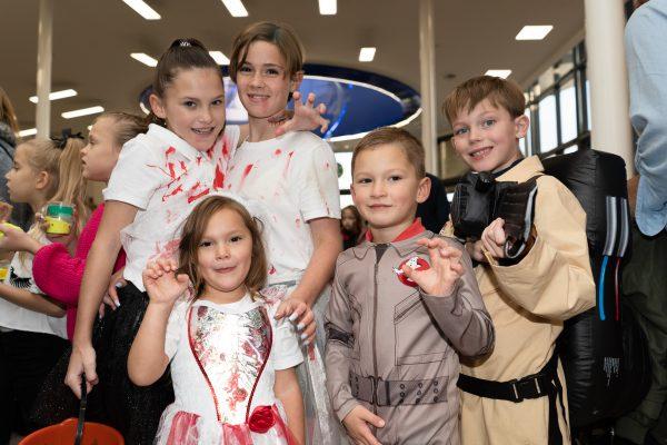 Jacob Dorsey, 8, Carter Riches, 3, Annabelle Murphy, 2, Laurence Murphy, 5 and Jodie Murphy, 11. Halloween at Festival Lesuire, Basildon.