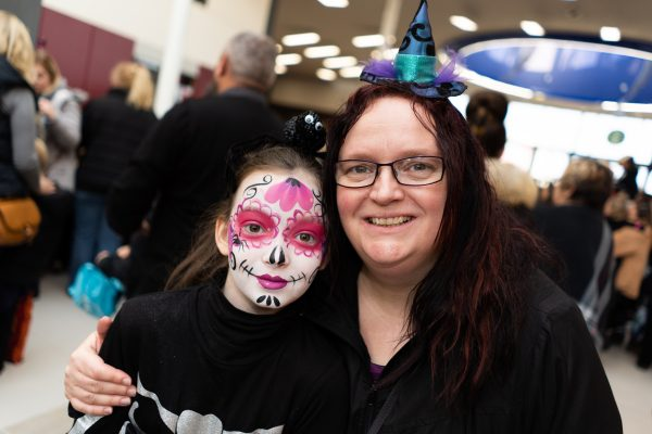 Kayla, 10 and Linda Crisp. Halloween at Festival Lesuire, Basildon.